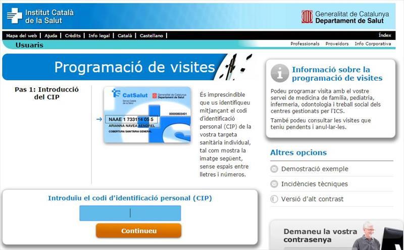 Pedir cita medico Catalunya  Barcelona