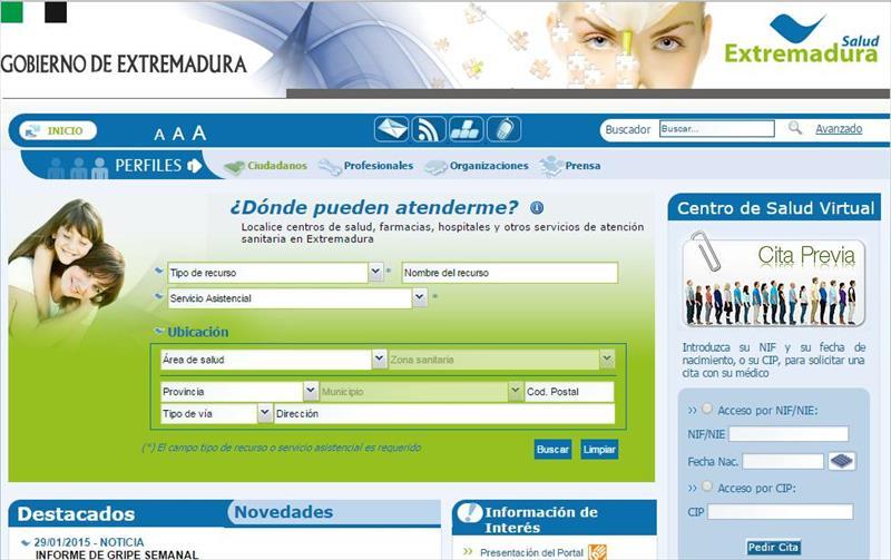 Pedir cita médico Extremadura  Badajoz