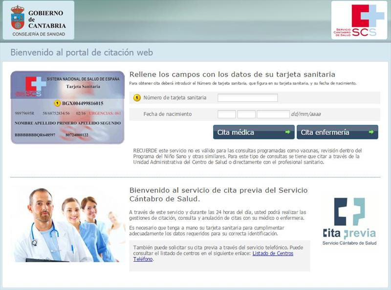 Pedir cita medico cantabria  Cantabria